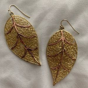 Jewelry - Beautiful Gold and Rose Gold Tone Leaf Earrings
